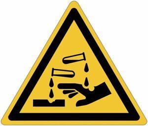 """Cartelli pittogrammi adesivi di pericolo ISO 7010 """"Sostanze corrosive"""" - W023"""