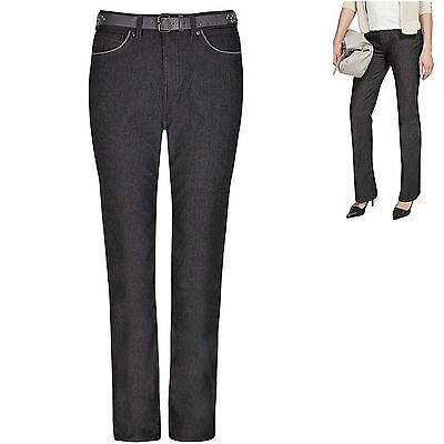 M&S Per Una size 16 Roma Rise Jeans Bootleg Charcoal with Grey Belt Bootcut New