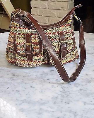 Free S&H !  Women's Multi-colored Straw & Genuine Leather Zip Handbag Purse