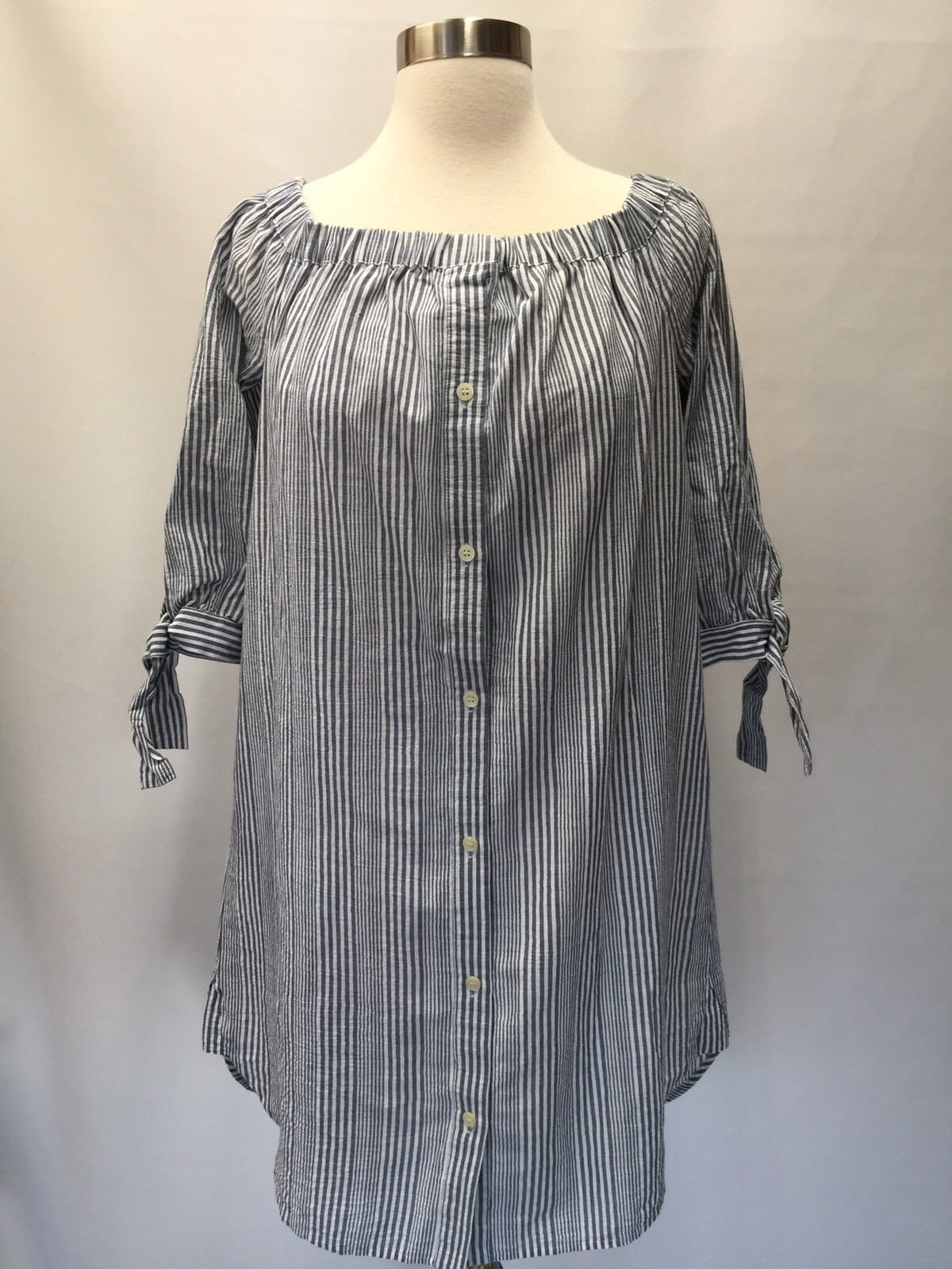 Medewell J Crew Striped Off The Shoulder Shirt Dress Size M  G5656 Soldout