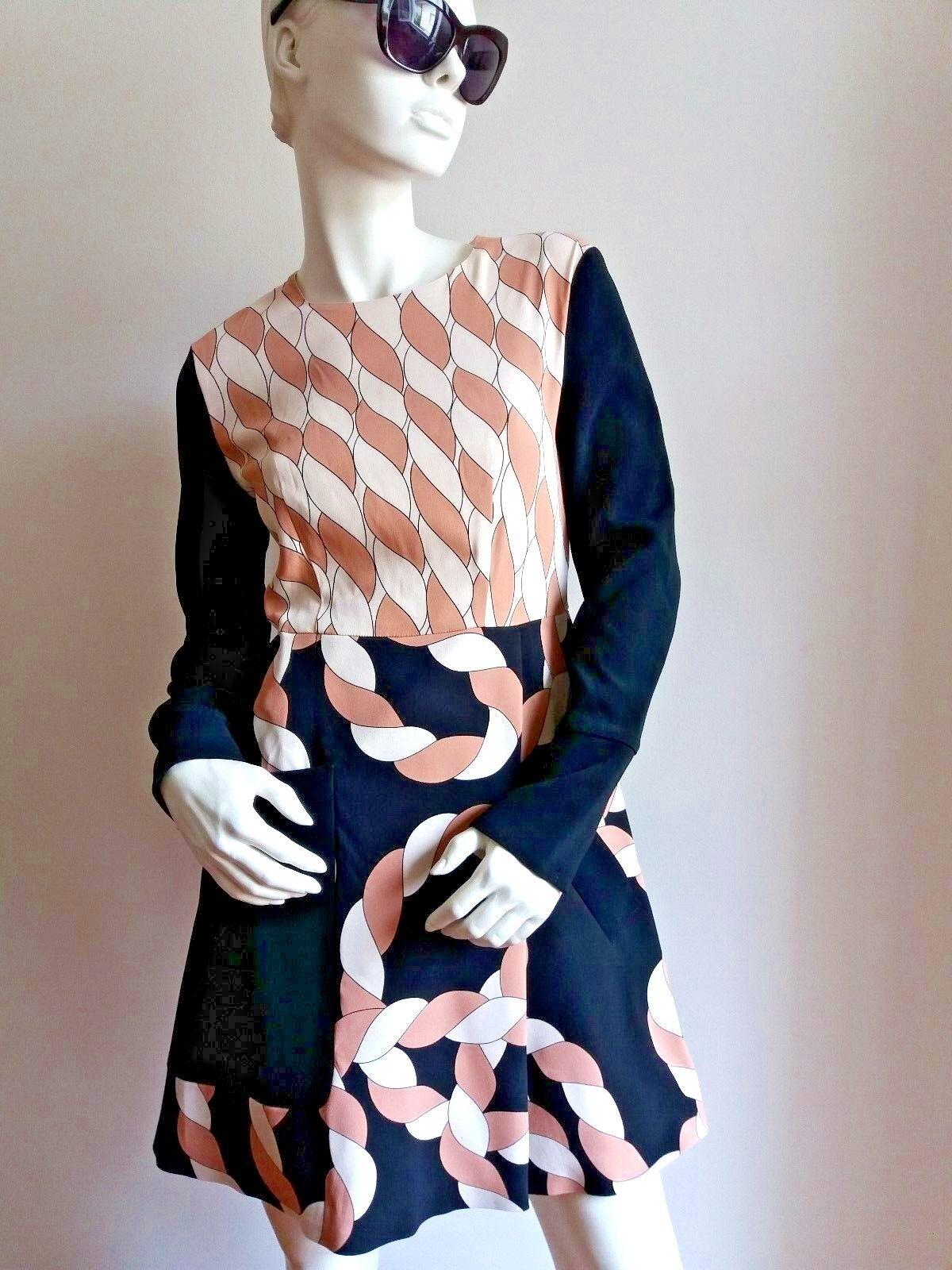 SPORTMAX by MAX MARA Printed Crepe Dress size 10 USA_ 12 GB_ 40 D_ 44 I_  42