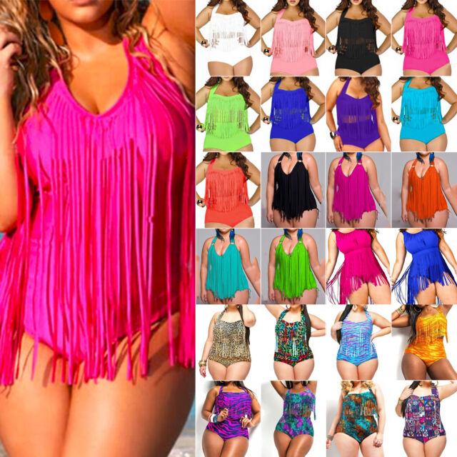 Plus Size Womens Swimsuit Beach Push Up Padded Tassel Bikini High Waist Swimwear