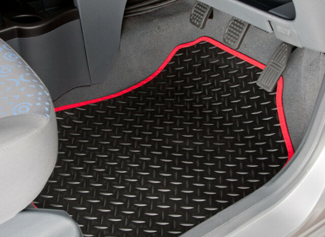 RANGE ROVER (1994 TO 2002) TAILORED RUBBER CAR MATS WITH RED TRIM [2511]