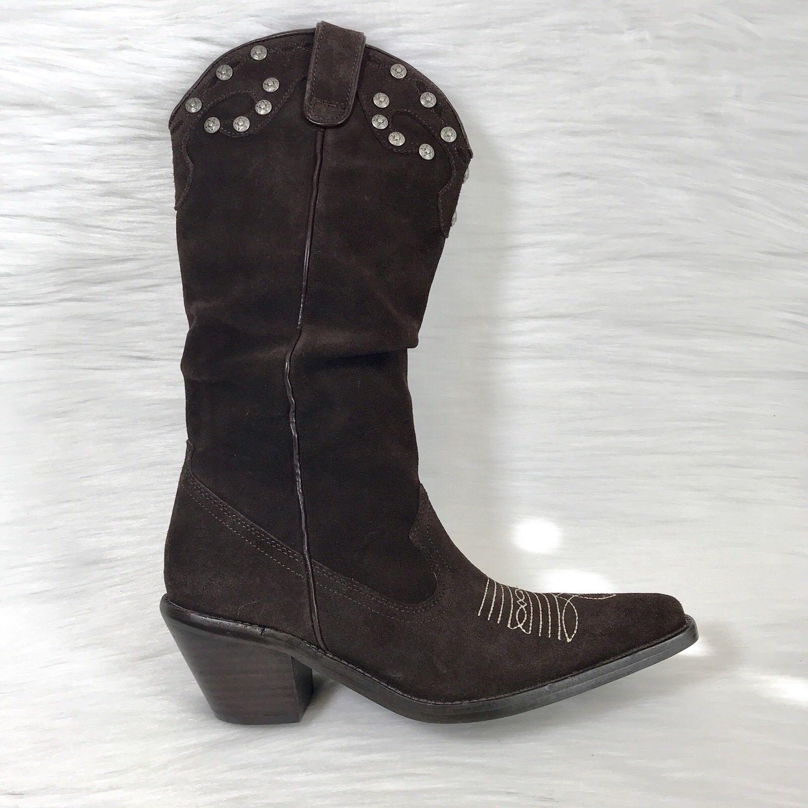 Gillian Julius Women's Boots Western Cowboy Brown Suede stars studs Size 6
