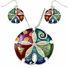 "Gorgeous Large Enameled Sand Dollar Pendant Necklace  and Earrings Set 24"" Chain"