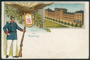 Postkarte-Hamburg-Litho-Regiment-76-Hamburg-kl-Fehler
