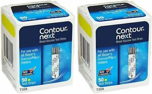 Contour Next Blood Glucose Test Strips 100 ( 2 x Boxes of 50 ) EXP late 2022