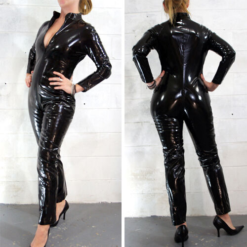 Black Wet Look Cat Suit Costume Zipper Bodysuit Costume Cat Woman Long Sleeve US