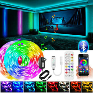 100Ft 50Ft 5M10m LED Tira Luces 5050 música sincronización Bluetooth Remoto Bar Kit de Luz