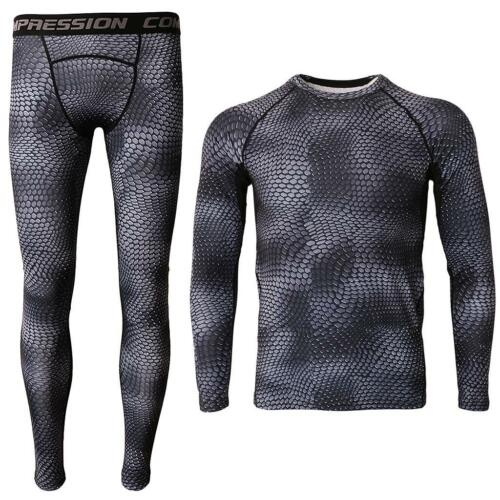 Men Running Long Sleeve T-shirt Male Compression Gym Fitness Tops Leggings Pants