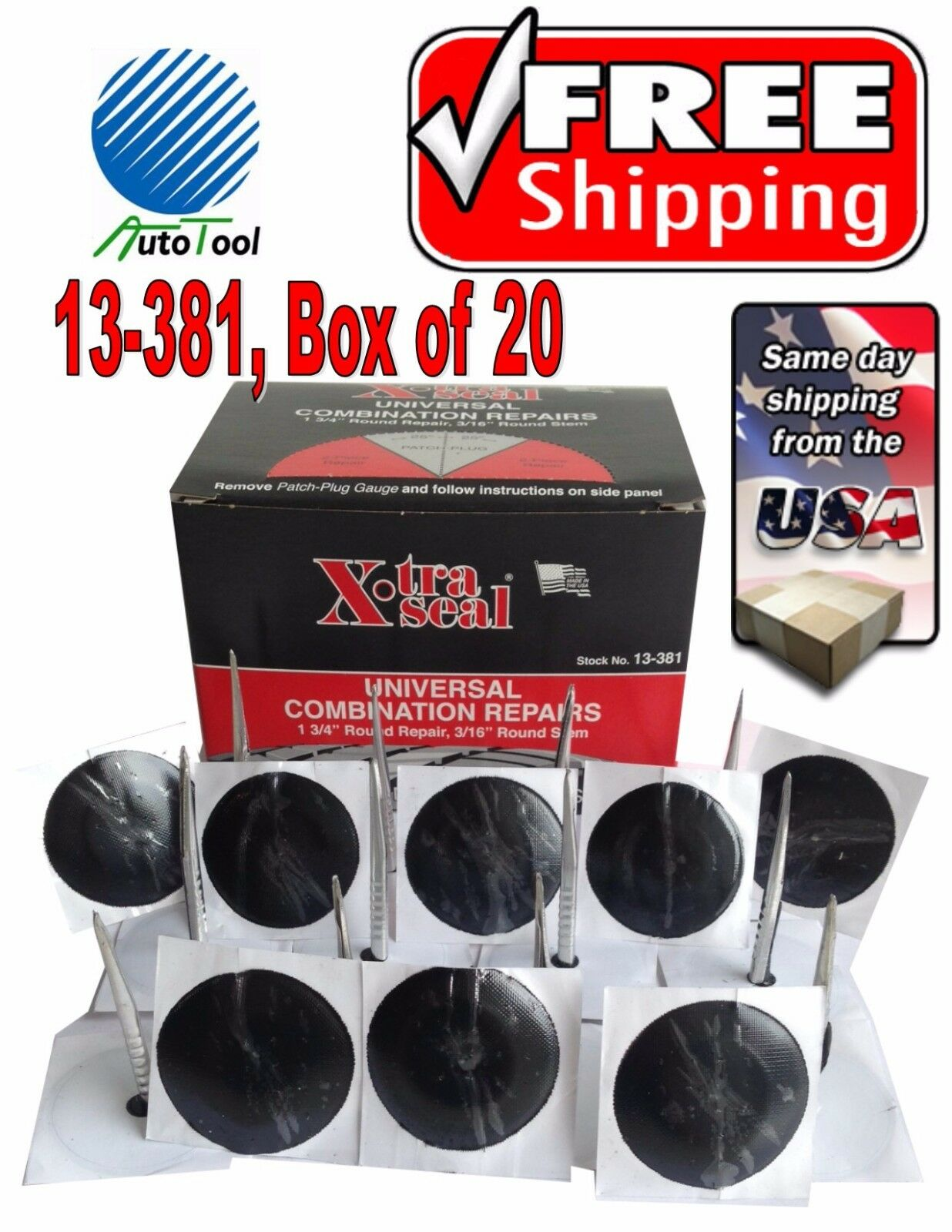 1 3//4 Round box of 20 Quill Seal Patch Plug