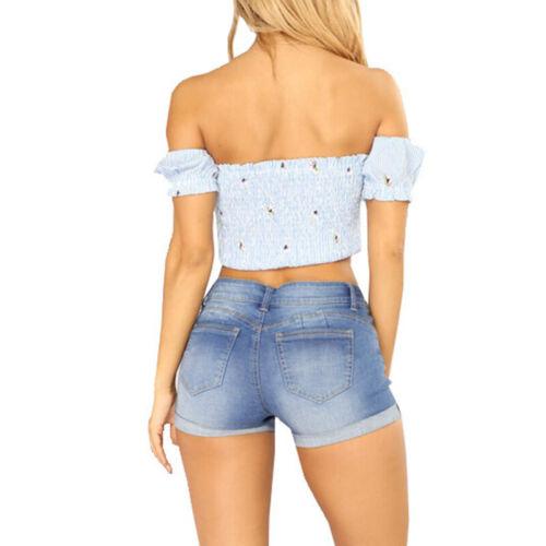Damen Destroyed Denim Shorts Jeans Hotpants Kurzehose Sommer Slim Bermuda Pants