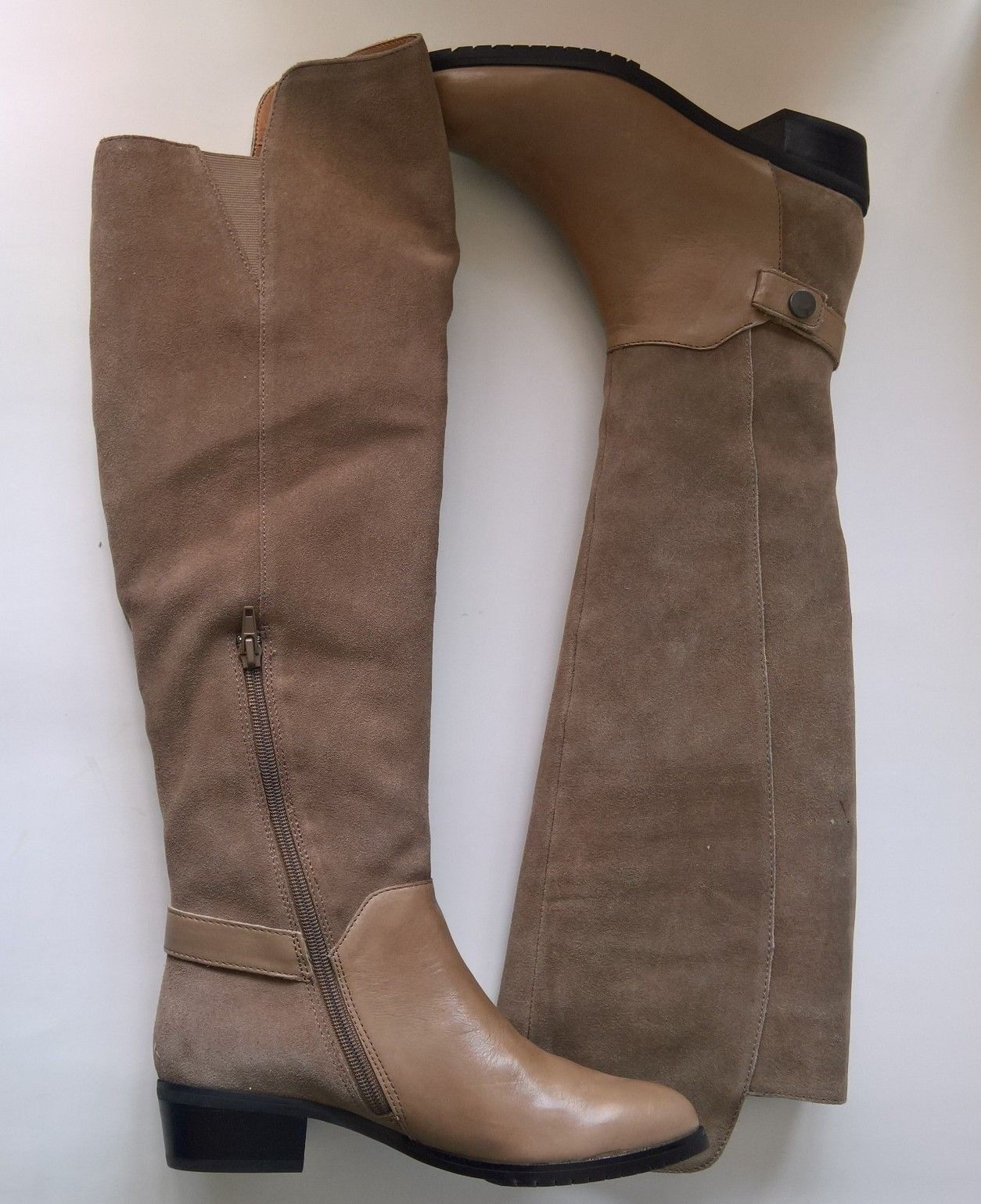 Kelsi Dagger Vlad Taupe Suede Leather Polished Calf Tall boots Size 6