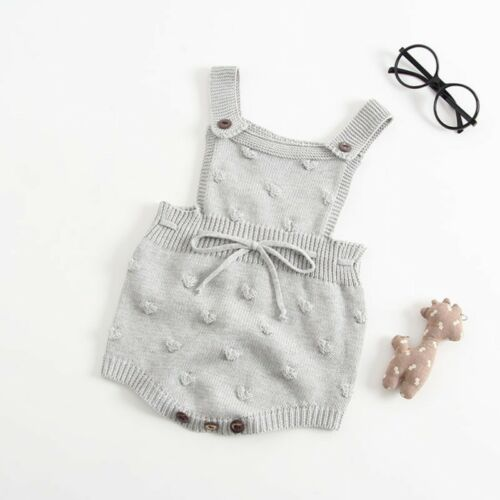 Newborn Baby Girls Summer Sleeveless Knitting Romper Jumpsuit Outfit Bodysuit