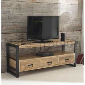 timeless design 4e8c3 0013d Details about Harbour Indian Reclaimed Wood And Metal Furniture Large  Television Cabinet Unit