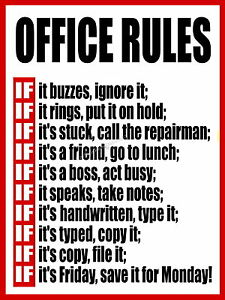 Details about Office Rules Funny metal Aluminium Sign humorus work place,
