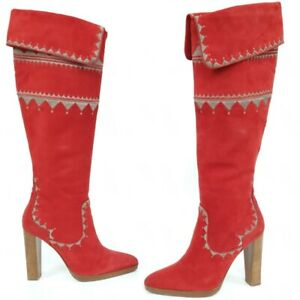 hermes size 39 suede red boots block heels rare decorated