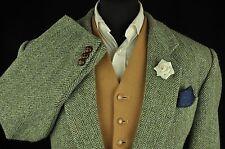 "Vtg Harris Tweed Herringbone Tailored Hacking Jacket 46"" #204 STUNNING CLOTH"