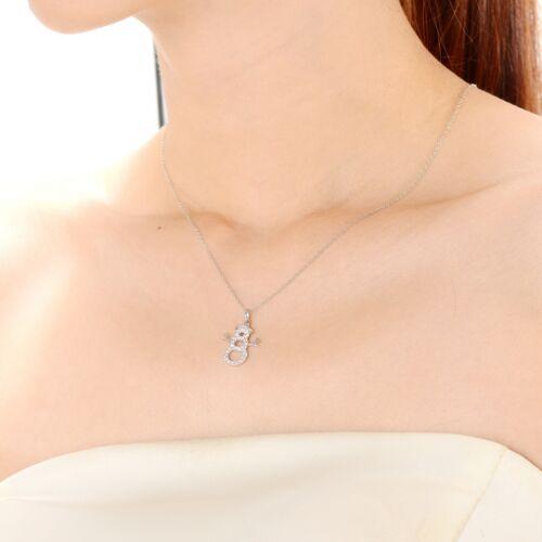 Rozzato Sterling Silver Clear Zircon rondes bonhomme de neige collier pendentif