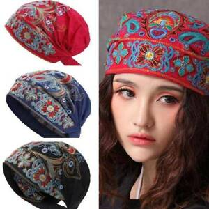 Women-Vintage-Beanie-Hat-Boho-Mexican-Style-Floral-Embroidery-Ethnic-Hat-Beanies
