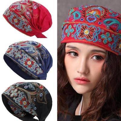Ladies Ethnic Turban Hat Cap Head Wrap Scarf Beanie Embroidered Florals Vintage
