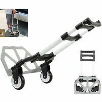 Aluminium Luggage Cart Folding Dolly Push Truck Collapsible Hand Trolley 170 Lbs