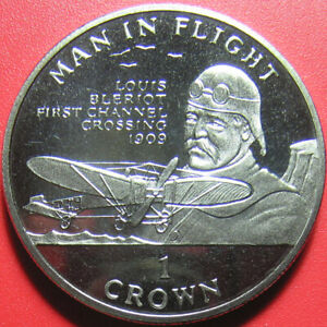 1994-ISLE-OF-MAN-1-CROWN-034-LOUIS-BLERIOT-034-CHANNEL-CROSSING-1909-CuNi-no-silver