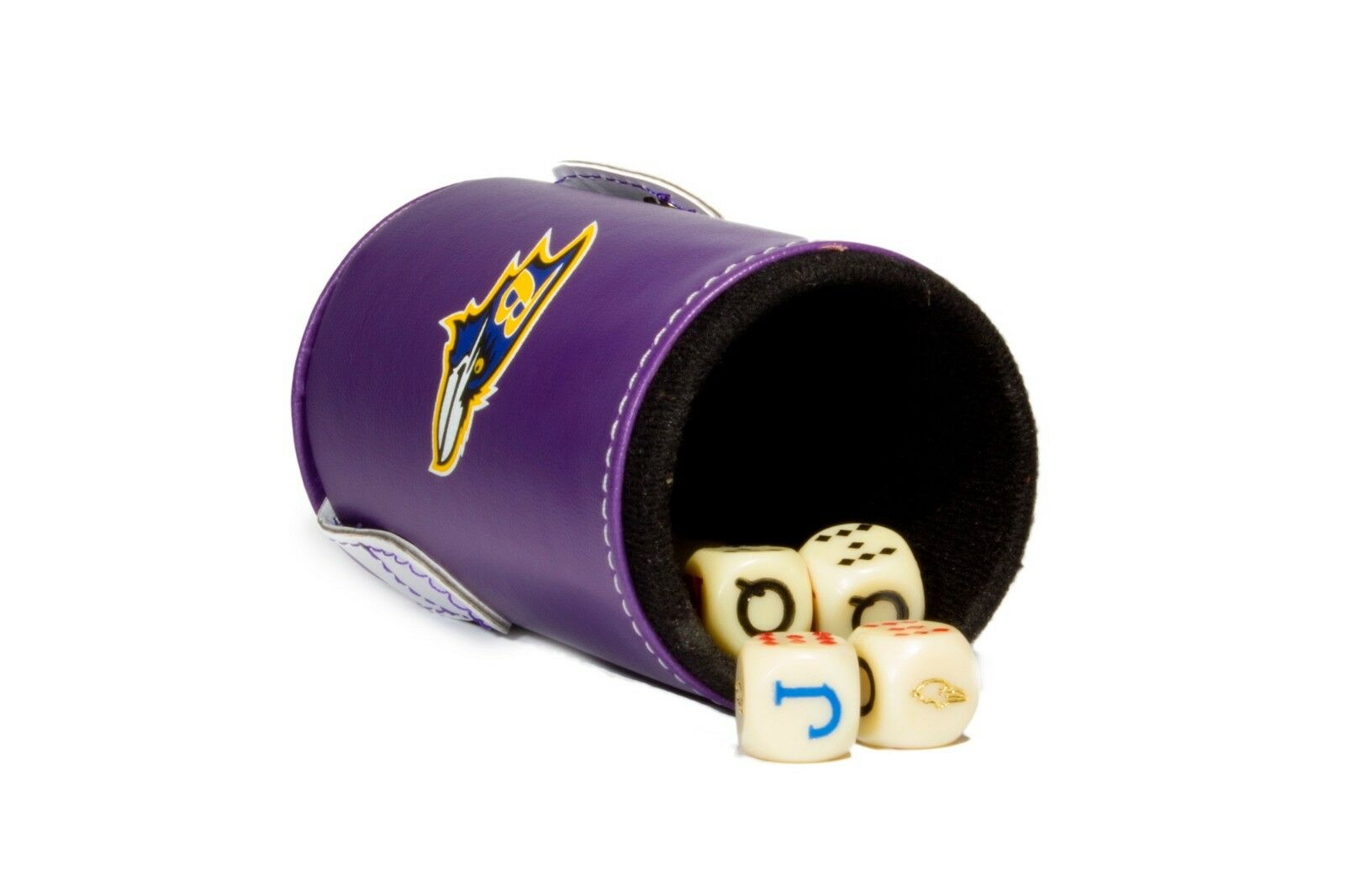Baltimore Ravens Dice Cup with with with Storage Compartment. 5 Engraved Poker Dice e89009