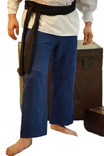 Victorian-Buccaneer-Stage-Pirate-Mens-BLUE LINEN DRAWSTRING TROUSERS All Sizes