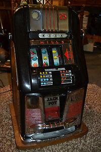 Vtg-MILLS-Slot-Machine-Hi-Top-coin-op-vending-casino-antique-25-Cent
