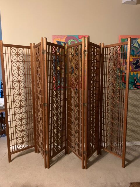 Tremendous 1960S Vintage Mid Century Modern Teak Folding Six Panel Room Divider Screen Download Free Architecture Designs Scobabritishbridgeorg