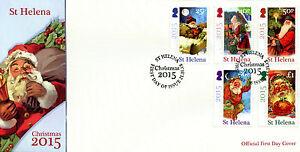 St Helena Christmas Stamps 2015 FDC Father Christmas Trees 5v Set