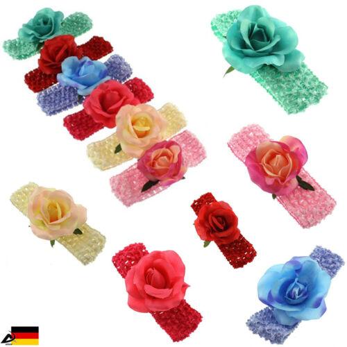Fascia per Capelli Bambina Fiore Rosa Foglie frontale Nastro Baby Battesimo Matrimonio Gioielli per Capelli