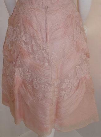 CEIL CHAPMAN 1950s Light Pink Lace Cocktail Dress - image 4