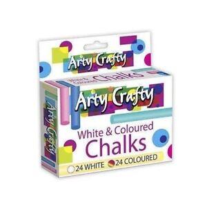 BUY-3-GET-1-FREE-48-WHITE-amp-COLOURED-CHALKS-24-EACH-CHILDREN-CRAFT-ART-DRAW-PLAY