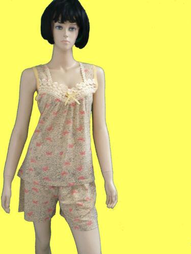 Damen Shorty Flatterhemdchen Baumwolle,kurze Hose Ärmellos