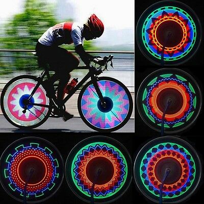 New Bike Bicycle Colorful Rainbow LED Wheel Signal Light Lamp 16 LED 32 Pattern