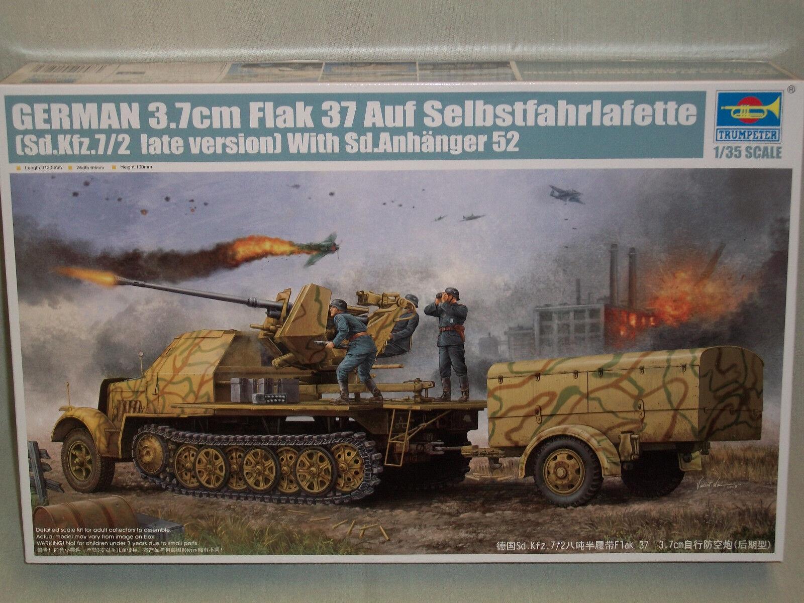 01526 Flak37 Sd.Kfz.7  2 SPAAG Armor fordon 1  35 skala modelllllerlerl trumpetare