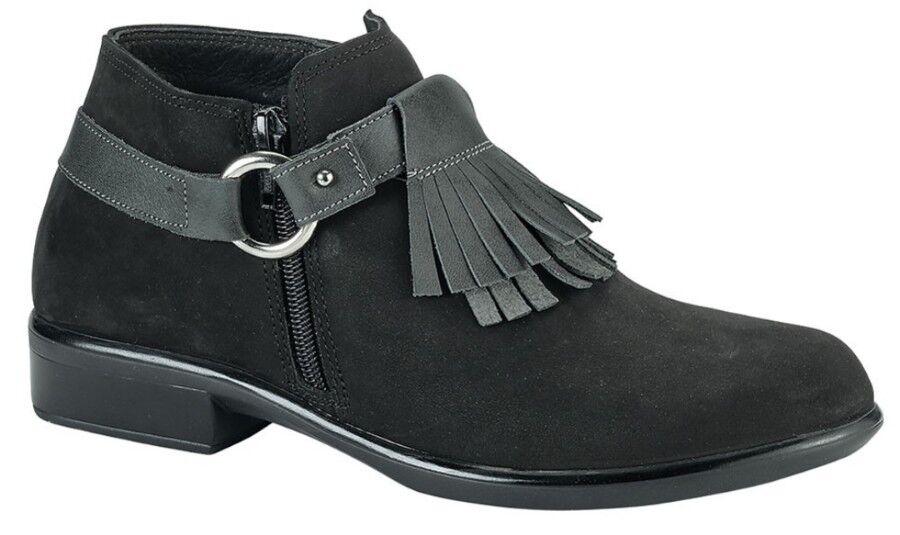 Naot Womens Meltemi US 7-7.5 Saddle Black Leather Fringe Kiltie Ankle Boot