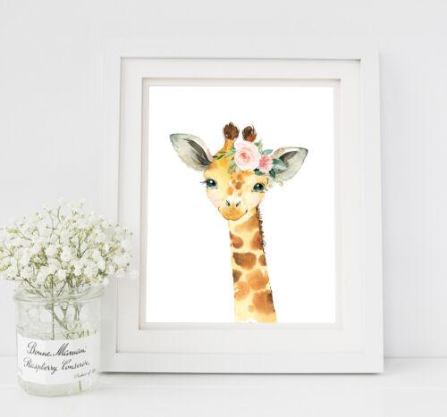 Pink Floral Giraffe Nursery Print Blush Green Boho Floral Art Animal Set 3 621-A