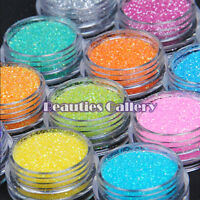 12 Color Shiny Glitter Nail Art Tips Acrylic UV Powder Dusts Polish Decor Kit UK