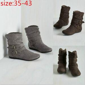 Damen-Basic-Schuhe-Stiefel-Winter-Warm-Biker-Ankle-Boots-Stiefeletten-Gefuettert