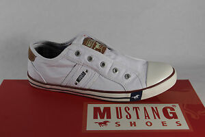 Nuovo Scarpe Bianco Basse Da Ginnastica Pantofola Sneakers Tessuto Mustang fqxH88