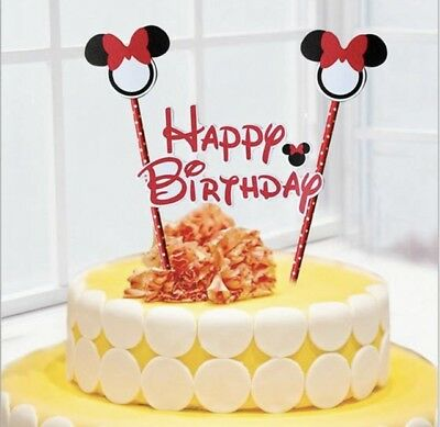 Superb New Disney Minnie Mouse Themed Party Happy Birthday Cake Topper Funny Birthday Cards Online Elaedamsfinfo