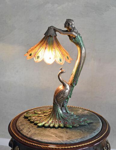 Tischlampe Jugendstil Frauenfigur Tischleuchte Pfau Leuchte Nachttischlampe neu
