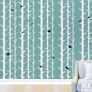 Woodland arbres pochoir peinture murs tissu Meubles Réutilisable Décoration Pochoirs