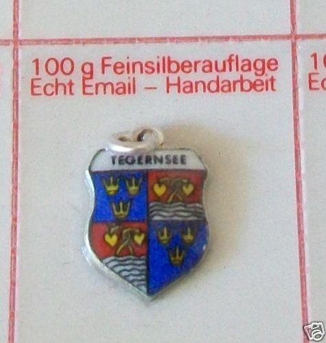 alter Anhänger Bettelarmband Email//Silber Tegernsee