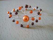 Bracelet Chocolat/Marron/Orange pr robe de Mariée/Mariage/Soirée, perles verre