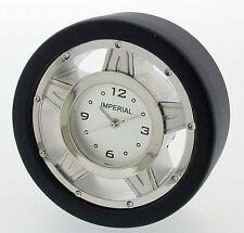 Novelty Miniature Race Tyre Clock in Chrome & Black Finish