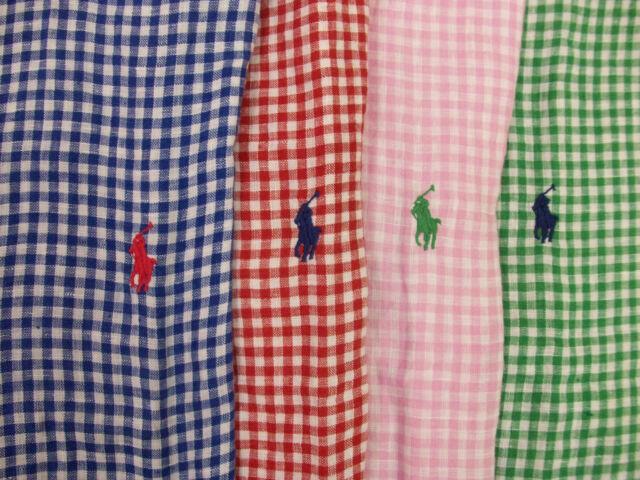 Polo Ralph Lauren Classic Fit Gingham Plaid Linen Shirt  Red Blue Green  $89 NWT
